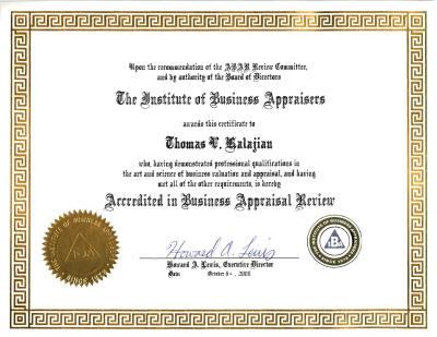 Business Appraiser Thomas Kalajian Bs Crtp Cva Abar